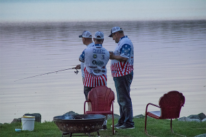 Healing Patriots, Fishing, Shoreline, Dusk, Presque Isle, Sunset Resort,