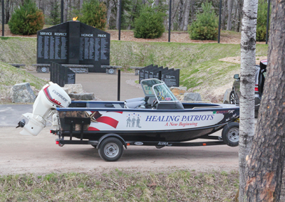 Healing Patriots Boat Display at Memorial