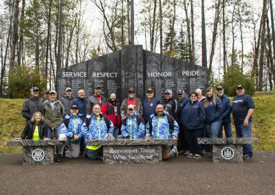 The Healing Patriots Staff and Guests at the War Memorial in Presque Isle, Wisconsin